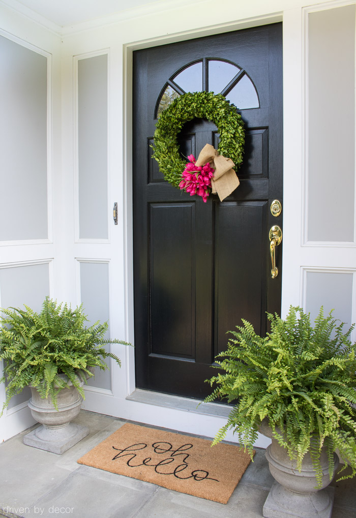 Love this home tour! Front porch / entryway with boxwood wreath, Boston ferns, and super cute doormat!