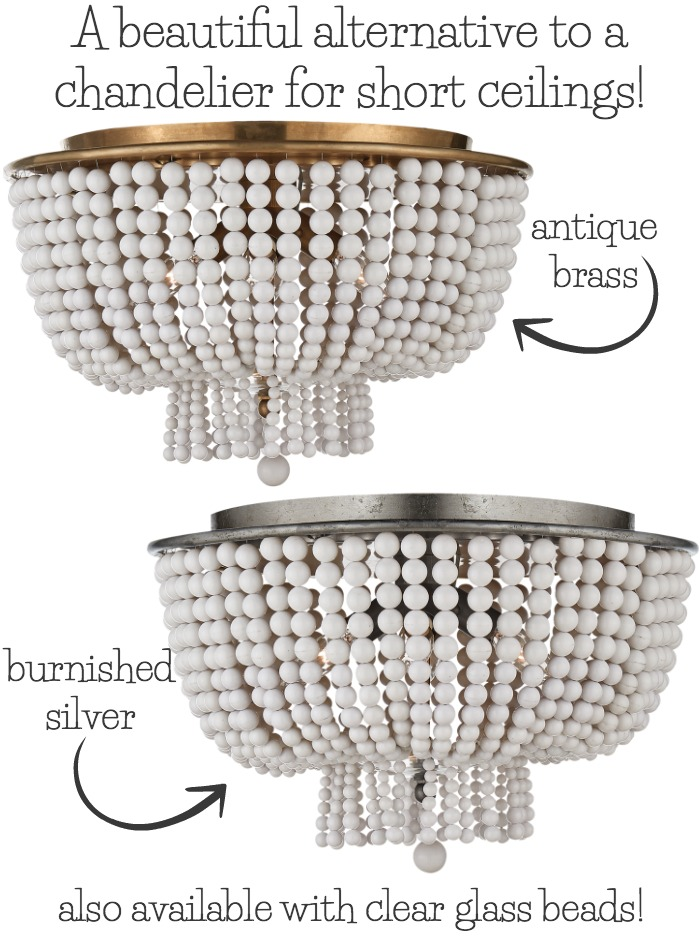 A gorgeous flush mount lighting fixture that's a great alternative to a chandelier when you have short ceilings!
