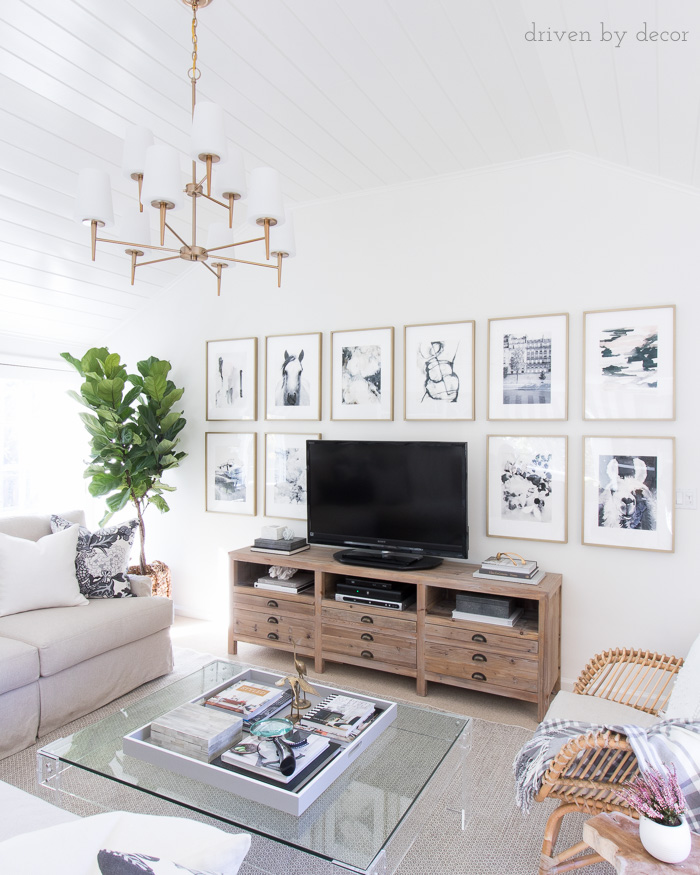 Decorating around the tv with art - how to get it straight and level! Great tips!