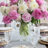 A bouquet of pink and white peonies makes a beautiful centerpiece!