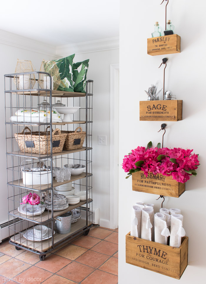 Rolling baker's rack for extra kitchen storage and nesting herb crate for tabletop necessities!