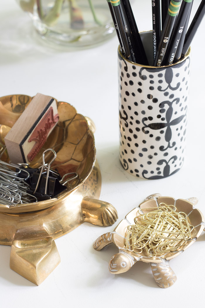 Super cute brass turtle dish - perfect for holding paper clips at a desk!