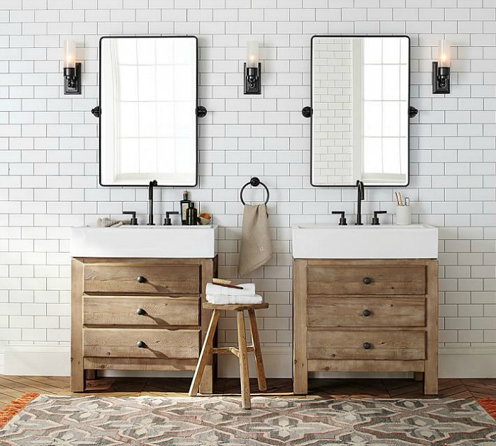 When you have a bathroom with limited countertop space, a small wood stool is perfect for holding towels and toiletries