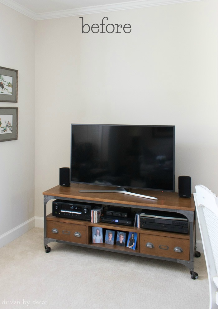 """Before"" pic of the space above our TV and media console - post includes the decorated ""after""!"