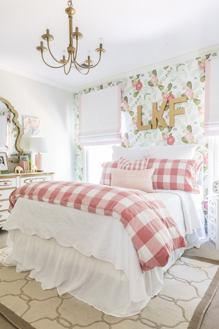 Gorgeous little girls room with (love the check duvet!) from the home of Mallory of Style Your Senses