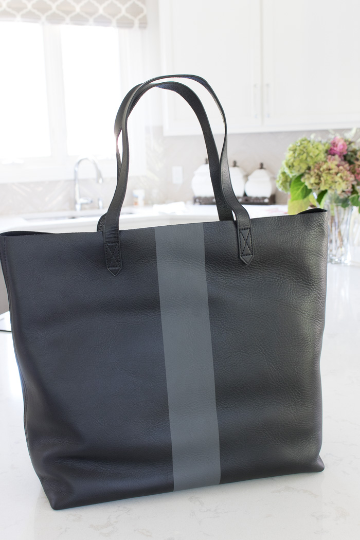 Black and gray striped leather tote - love!