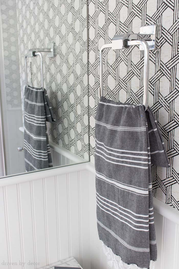 Love this chrome towel ring and the other matching bathroom accessories in this line!