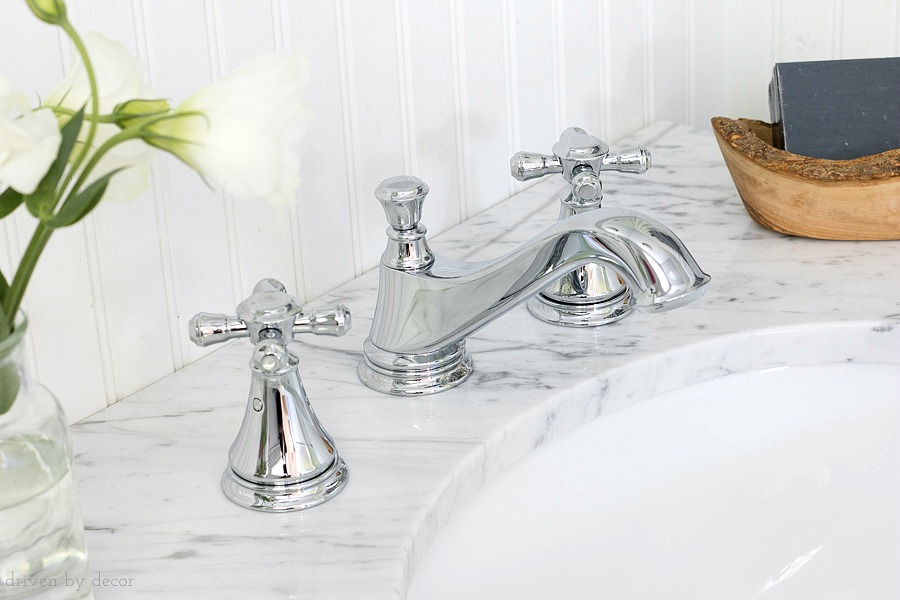 Love this classic elegant faucet - Delta's Cassidy faucet with cross handles in chrome. More pics included!