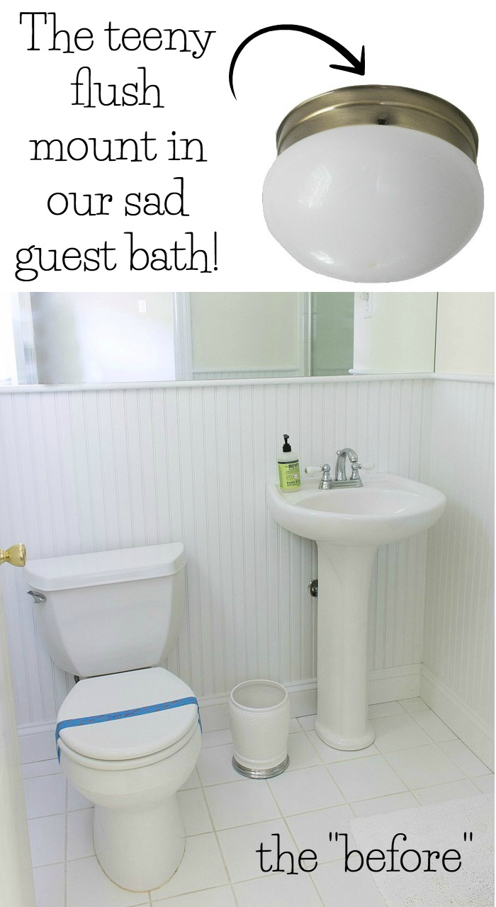 Our too-small bathroom flush mount!