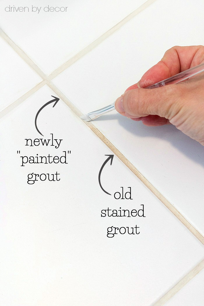 The secret to getting stained tile grout white again for How to make grout white again