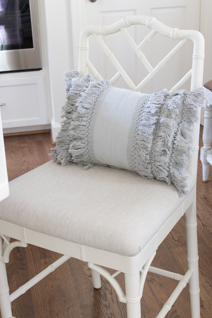 Gray layered fringe lumbar pillow - adorable!