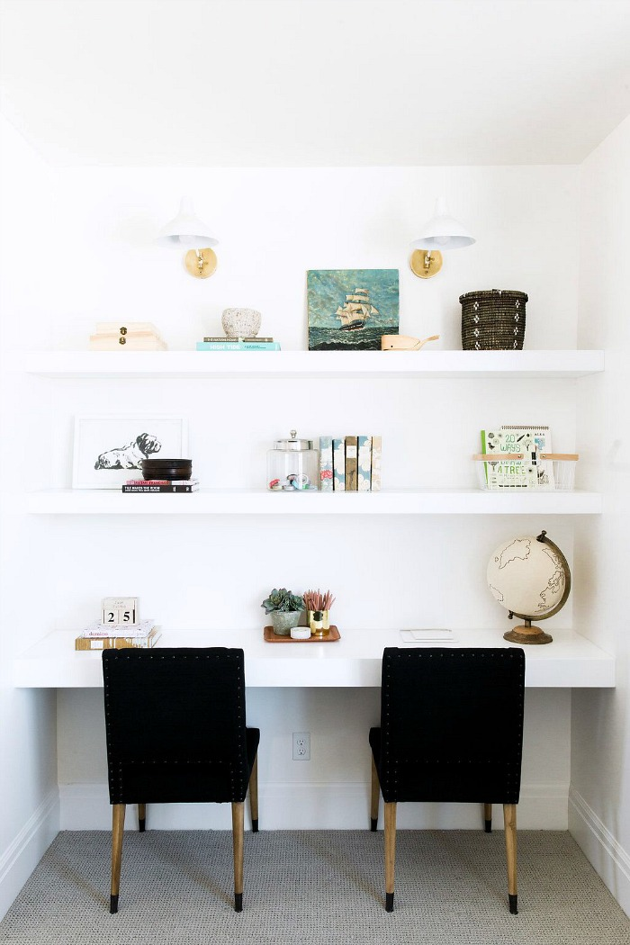 A simple, uncluttered way to add shelving and a workspace to your living room