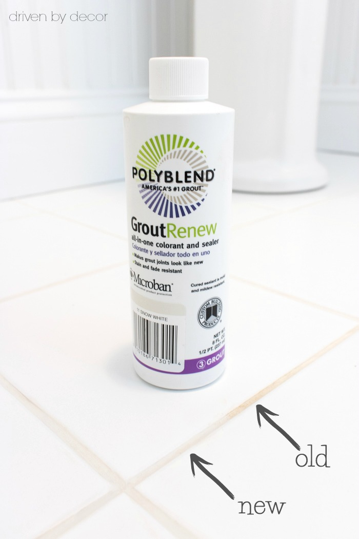The only product I've found to solve the dilemma of how to get your grout clean and white. More info on how to use Polyblend Grout Renew in this post!