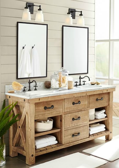 Gorgeous wood vanity and simple medicine cabinet mirrors - love!
