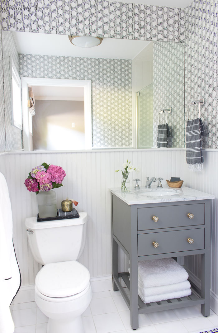 Epic Ideas and inspiration for remodeling a small bathroom gray vanity with marble top and Delta