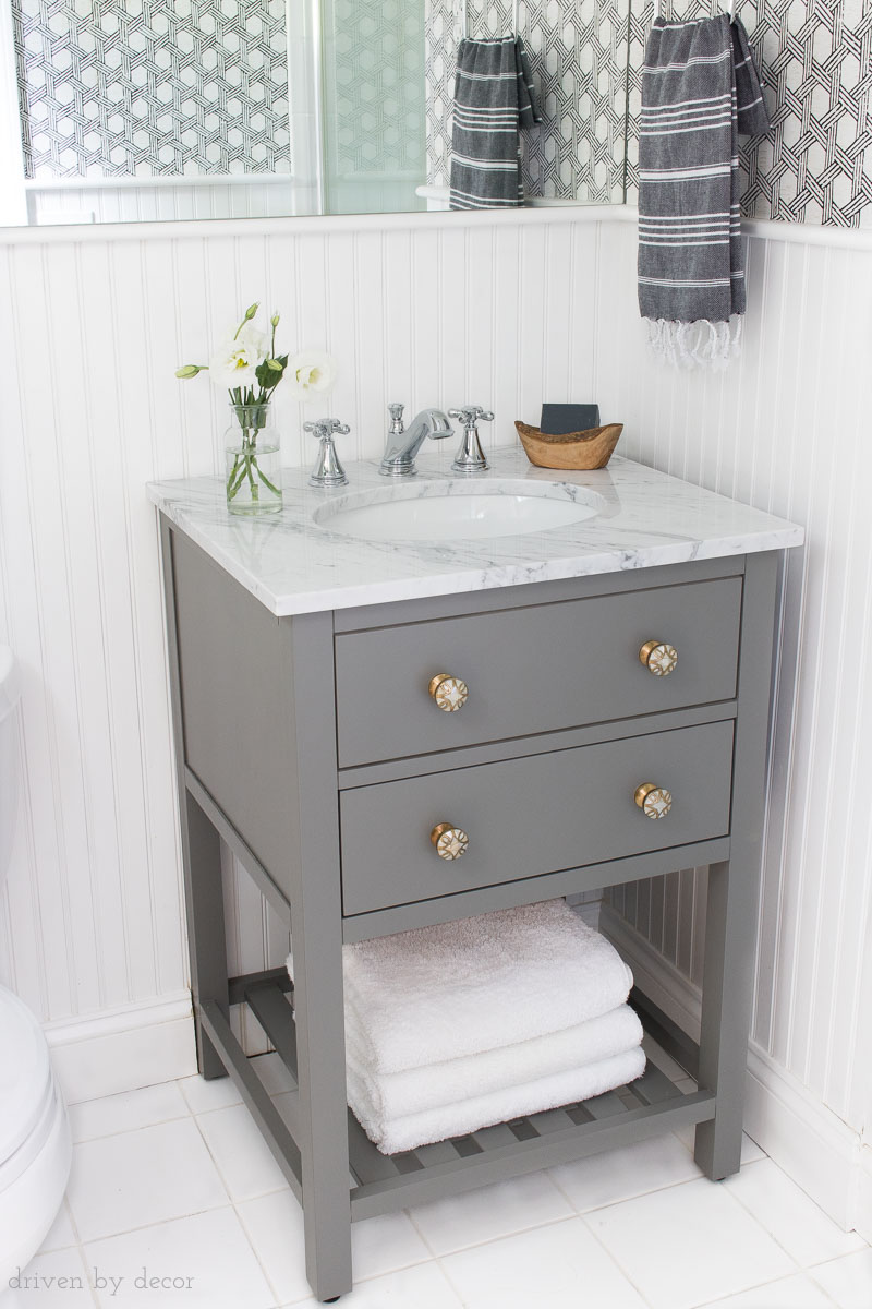 """The perfect vanity for replacing a pedestal sink! It's only 25"""" so fits in small spaces and comes with the sink and top!"""