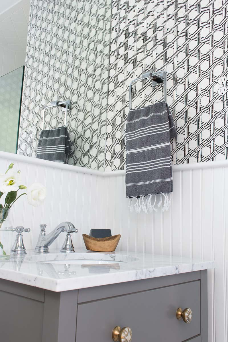 Great post on using wallpaper in bathrooms with tips for how to make it work!