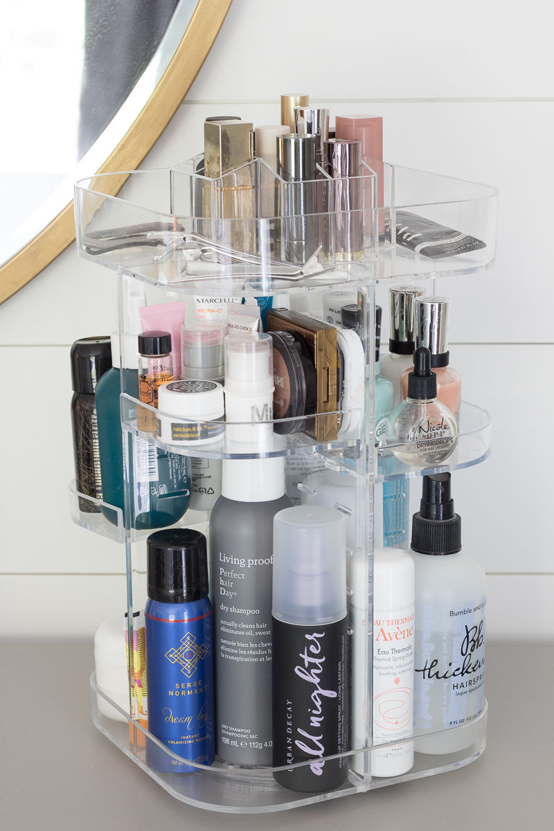 Soo amazing for holding all of my beauty products and it rotates to make everything super easy to find and grab! Definitely one of the best bathroom storage solution for makeup and other beauty accessories!