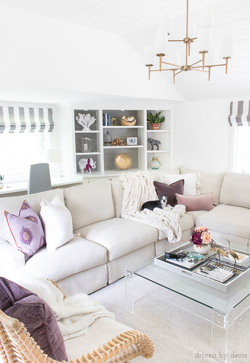 Love the fall touches (including plum velvet pillows) added to this family room for fall - click to take the full fall tour!