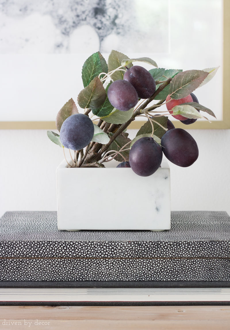 Bundle of faux plums for simple fall decor