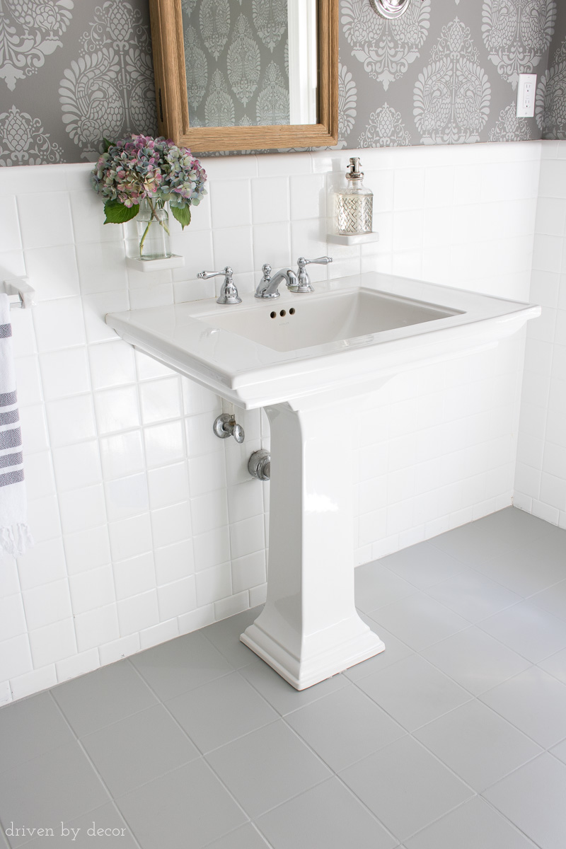 Ceramic Tile Bathrooms how i painted our bathroom's ceramic tile floors: a simple (and