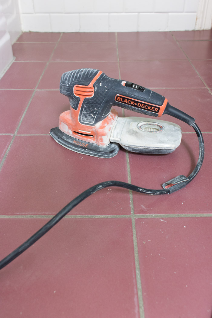 How to prepare ceramic tile floors for painting - love handheld sander - works perfectly!