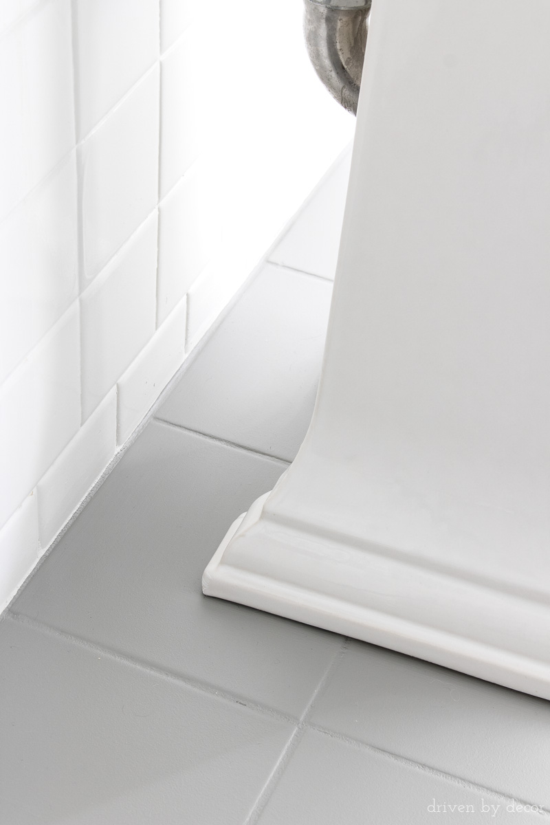 How I Painted Our Bathrooms Ceramic Tile Floors A Simple And - Repainting floor tiles