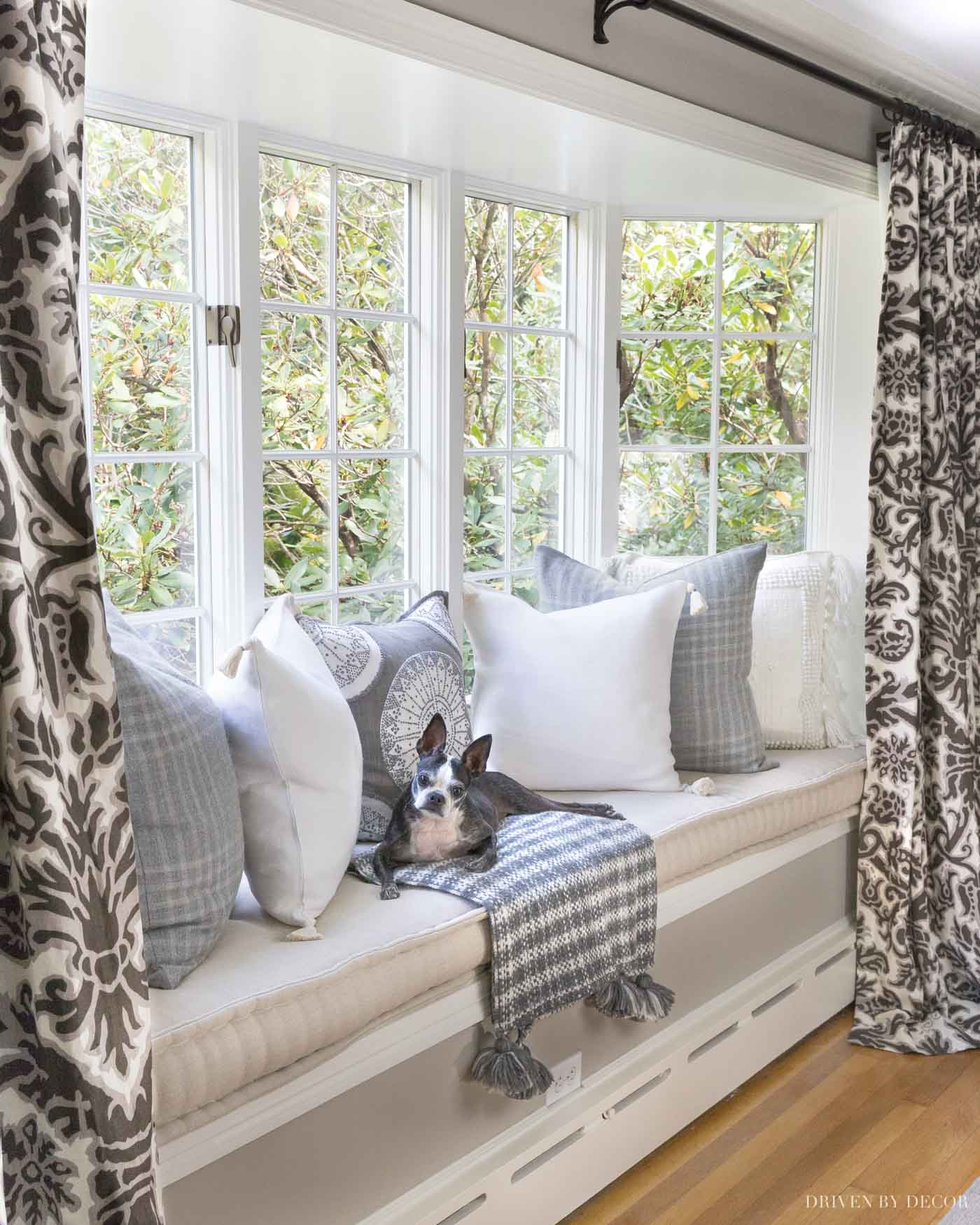 Love this window nook! Paint color is Sherwin Williams Anew Gray