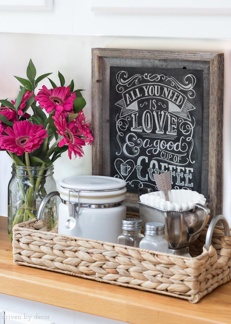 The perfect small kitchen coffee station with the cutest coffee lovers chalkboard print!