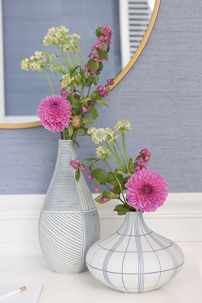 Gorgeous blue and white striped vases from HomeGoods - love!