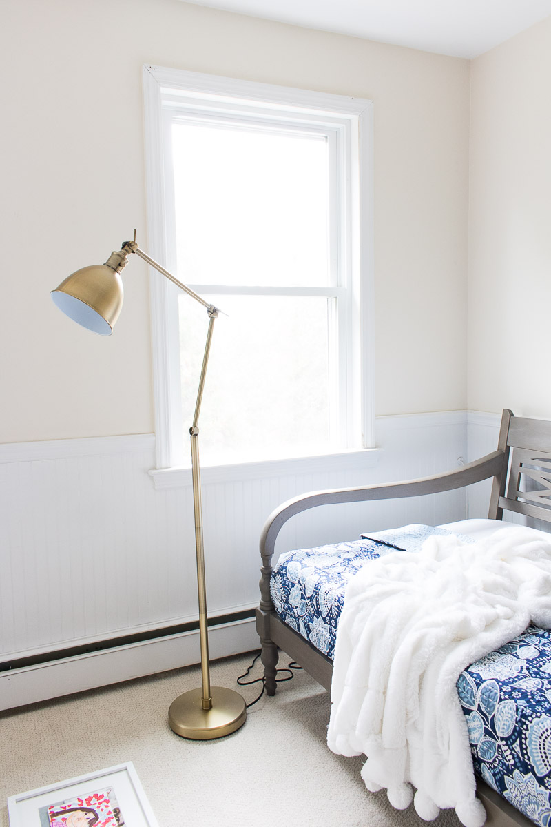 An inexpensive brass hinged floor lamp - love finding beautiful lamps on the cheap!