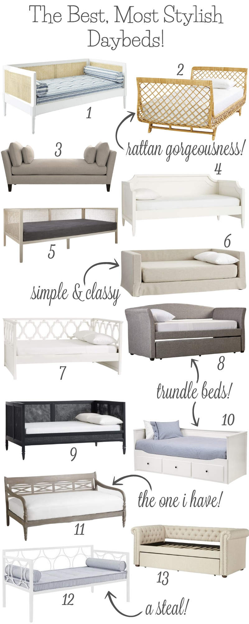 So many stylish twin daybed options! Love the ones with trundles (an extra spot for guests to sleep would be the best)! Lots of favorites here!
