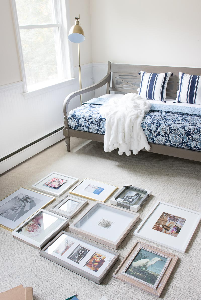 The plan for my art gallery wall above the daybed!