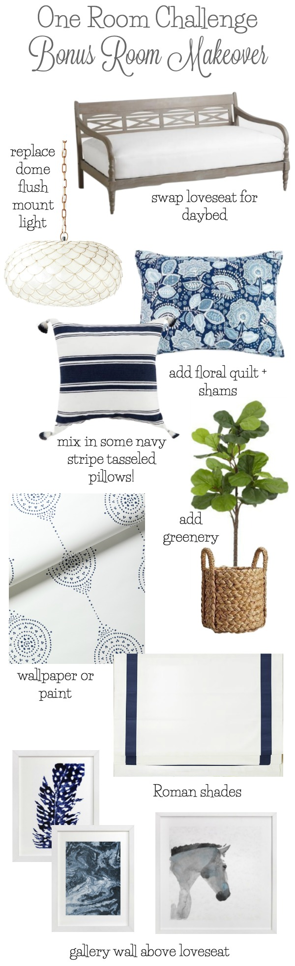 My design plans for making over our bonus room with a blue and white color scheme!