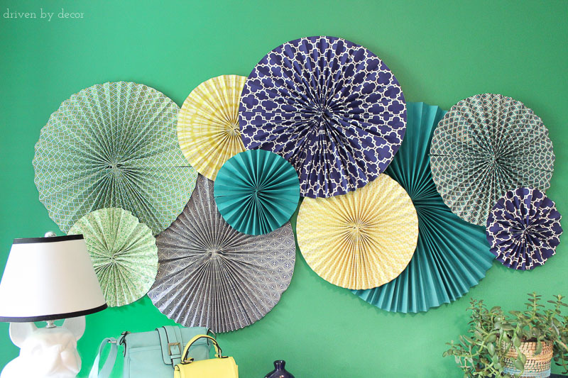 Paper rosettes are a cheap and easy idea for adding color and pattern to a kid's room without spending a lot of money!