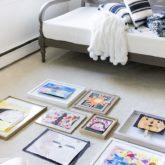 Planning my art gallery wall using my kids' art!