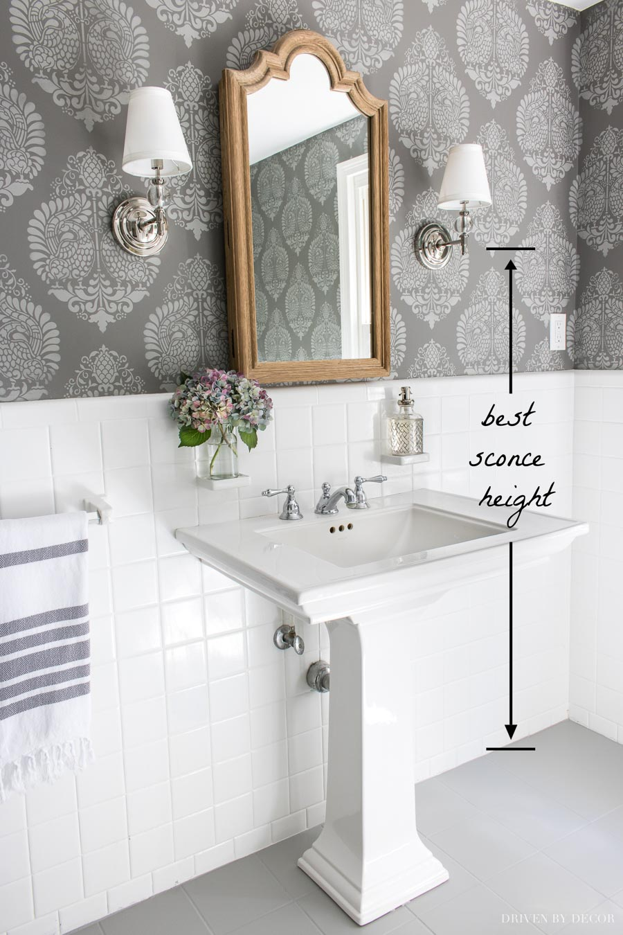 Great sconce height tip when you're mounting them in a bathroom!