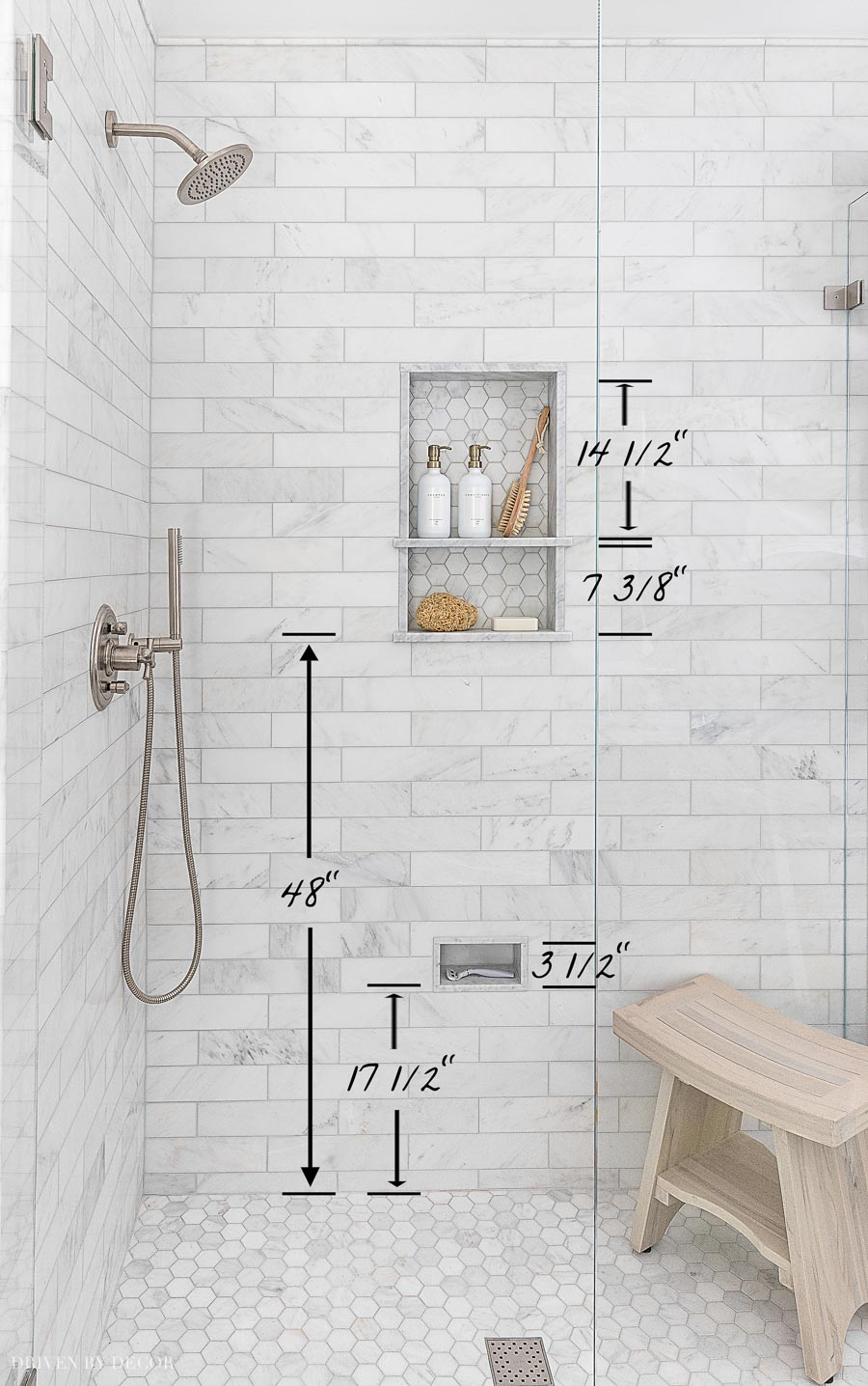 Our shower niche height measurements! Lots of other helpful bathroom measurements in this post too!