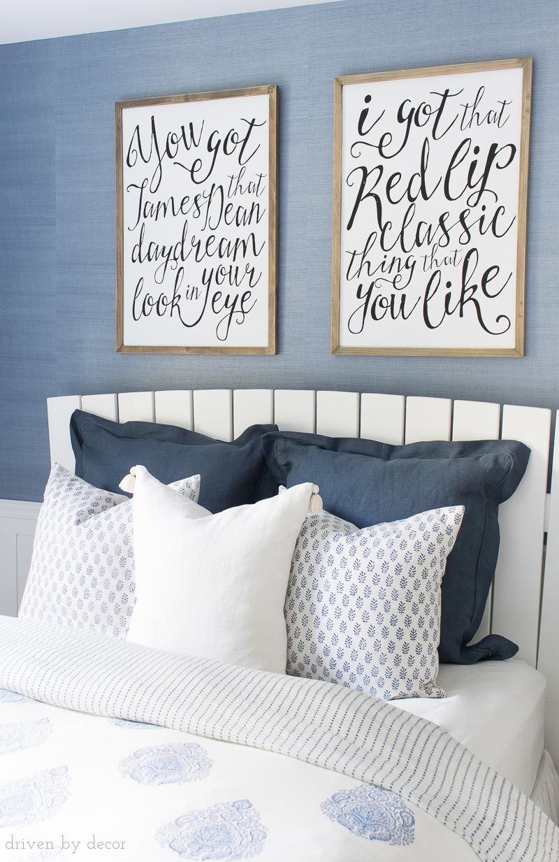 Love the idea of framing song lyrics as art! This one is Taylor Swift! Lots of other ideas for decorating kids room included in the post!