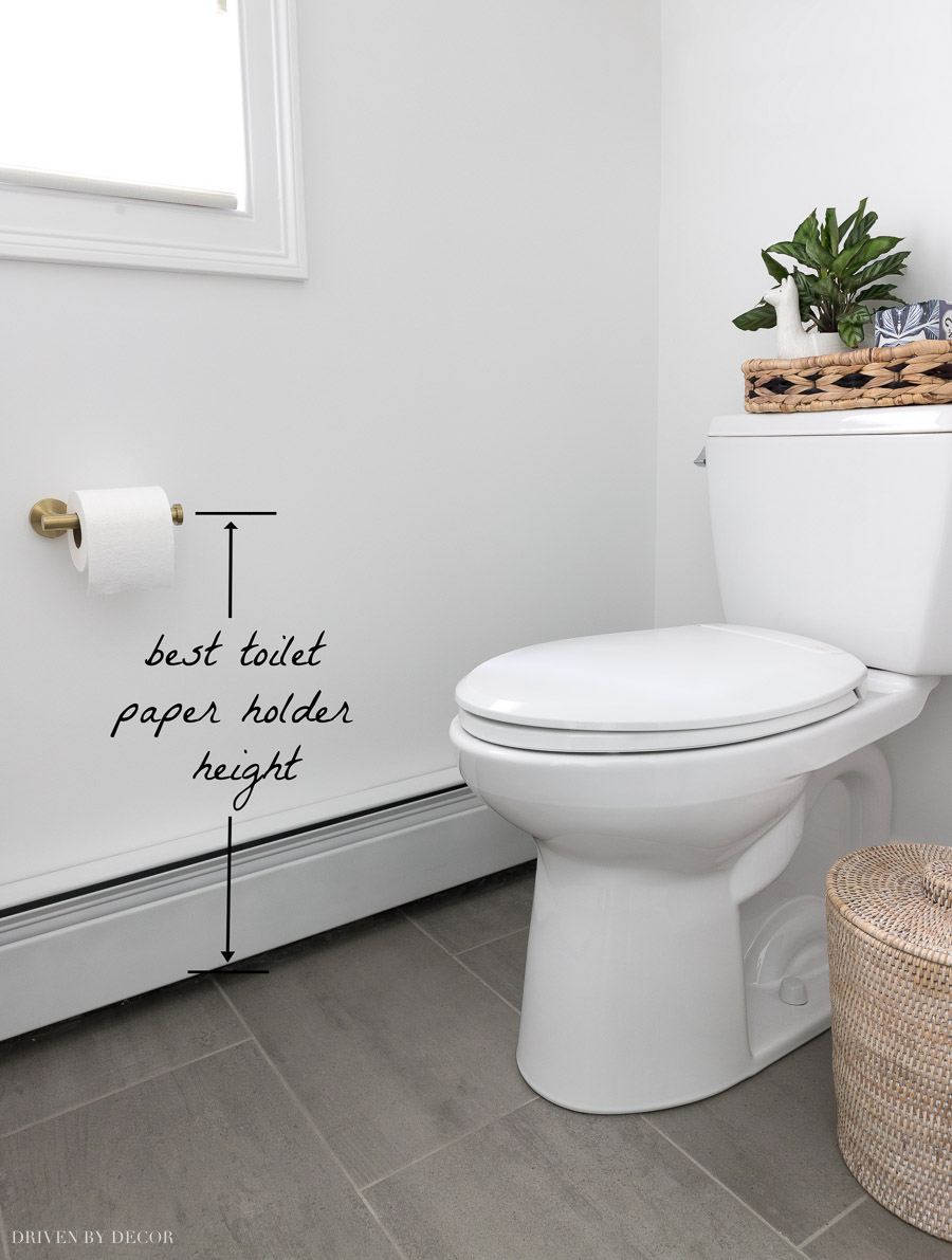 Want to know the best toilet paper holder height? This post has all the measurements you need!