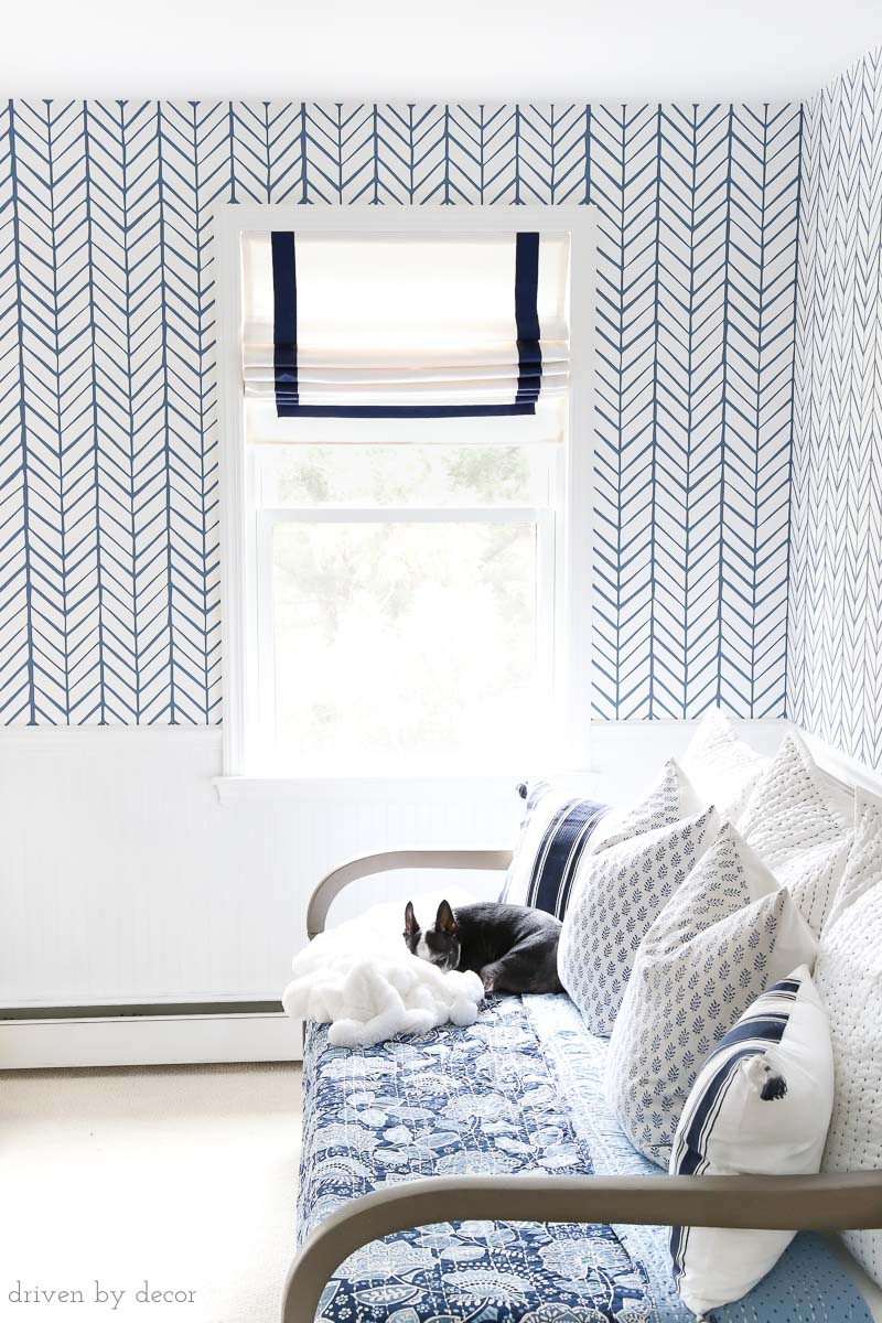 Loving this blue and white herringbone wallpaper! Makes such a huge difference!