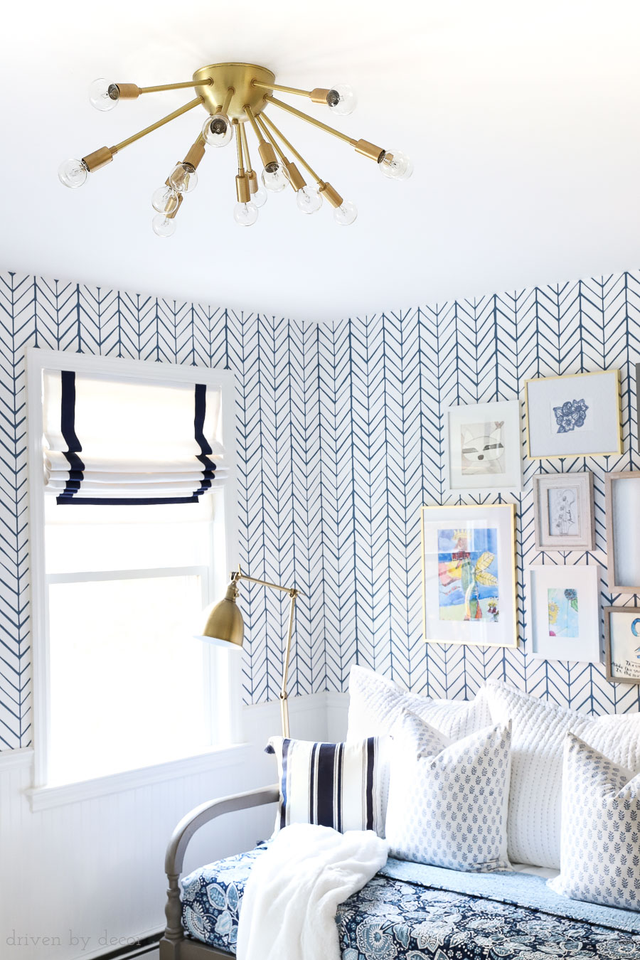 Gorgeous brass sputnik flush mount ceiling light fixture! Perfect for this kid friendly space!