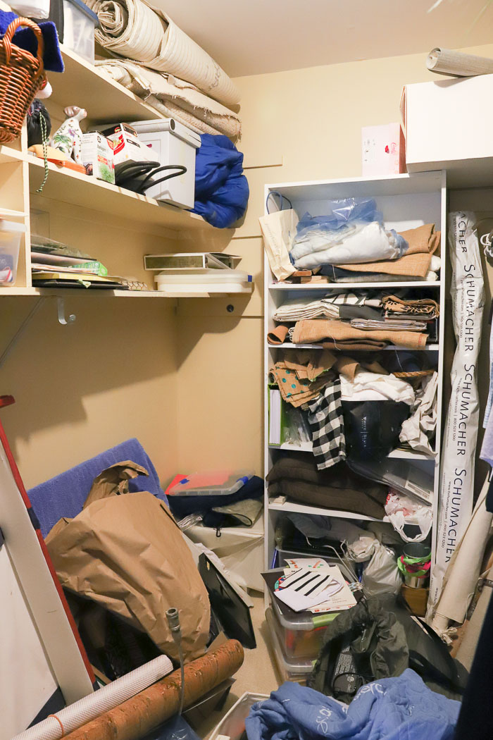 Our mess of a storage closet before its makeover