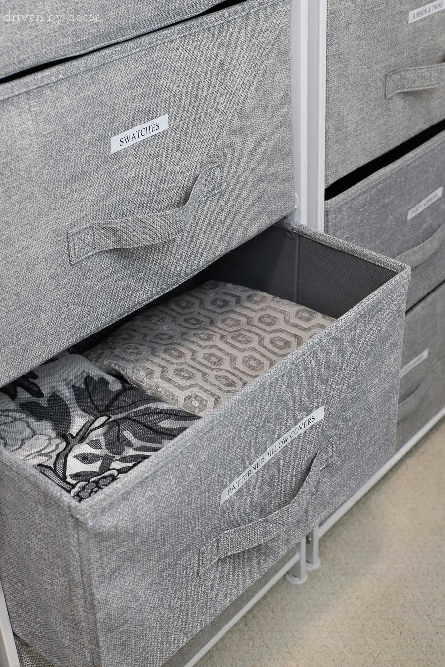 Great post filled with closet organization ideas! Love these labeled storage drawers!
