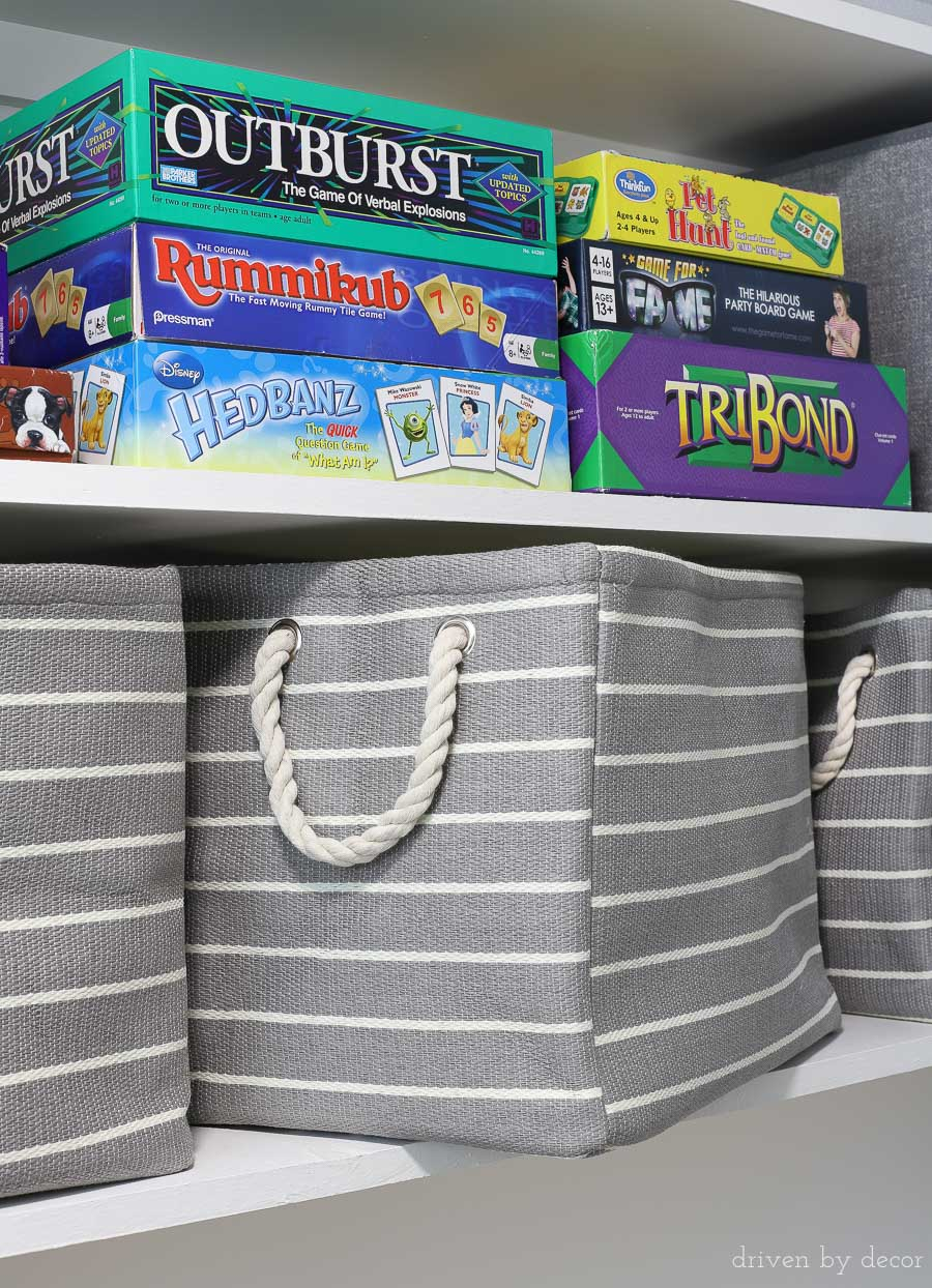 These rope handled storage bins are the perfect size for sitting on closet shelves (and so pretty)! Lots of great organizational ideas in this post!!