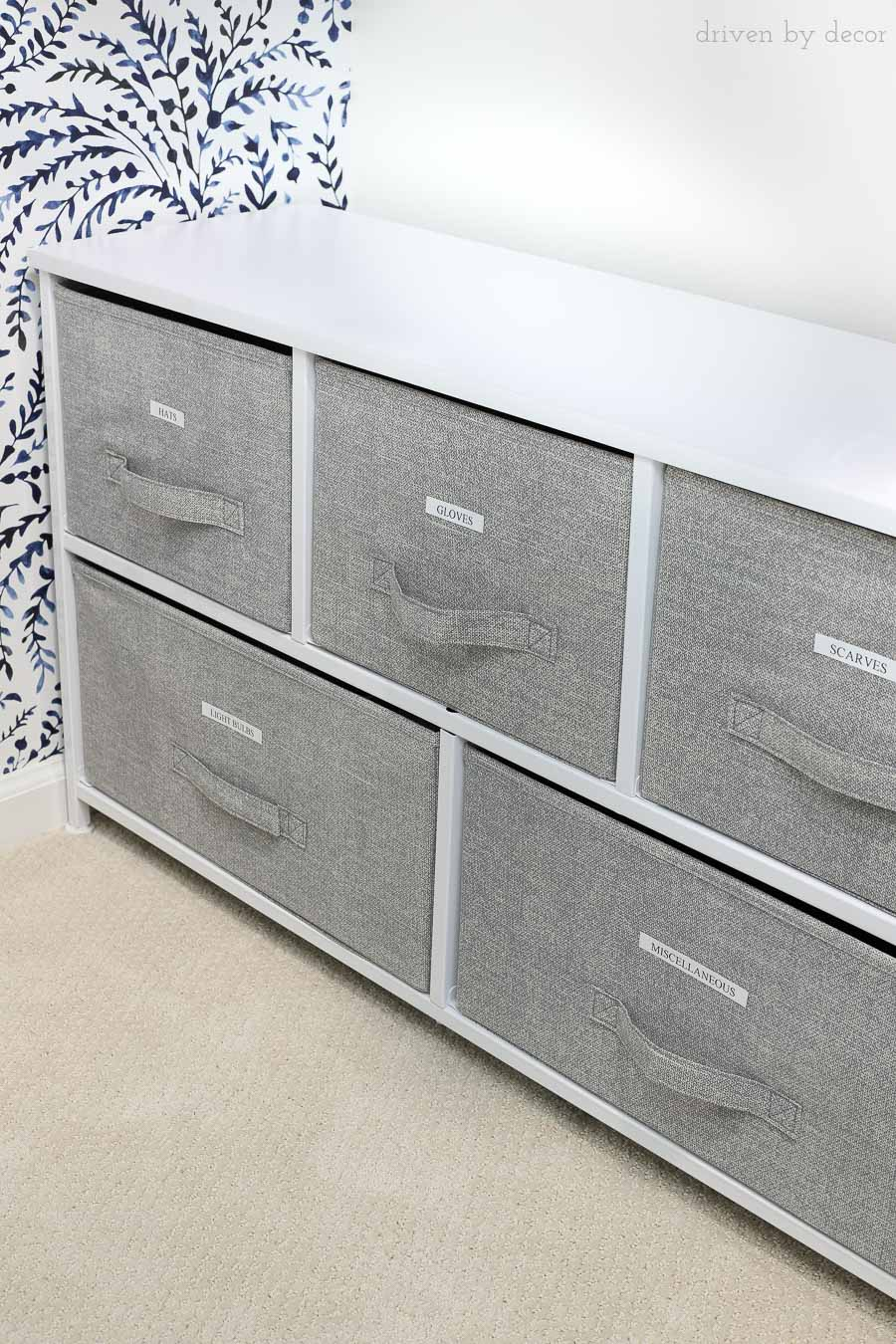 Totally getting these for my storage! Fabric dressers with pull-out drawers in different sizes - love!