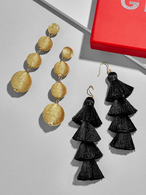 Gorgeous earring gift set - one pair of gold ball dangles and a pair of black tassels