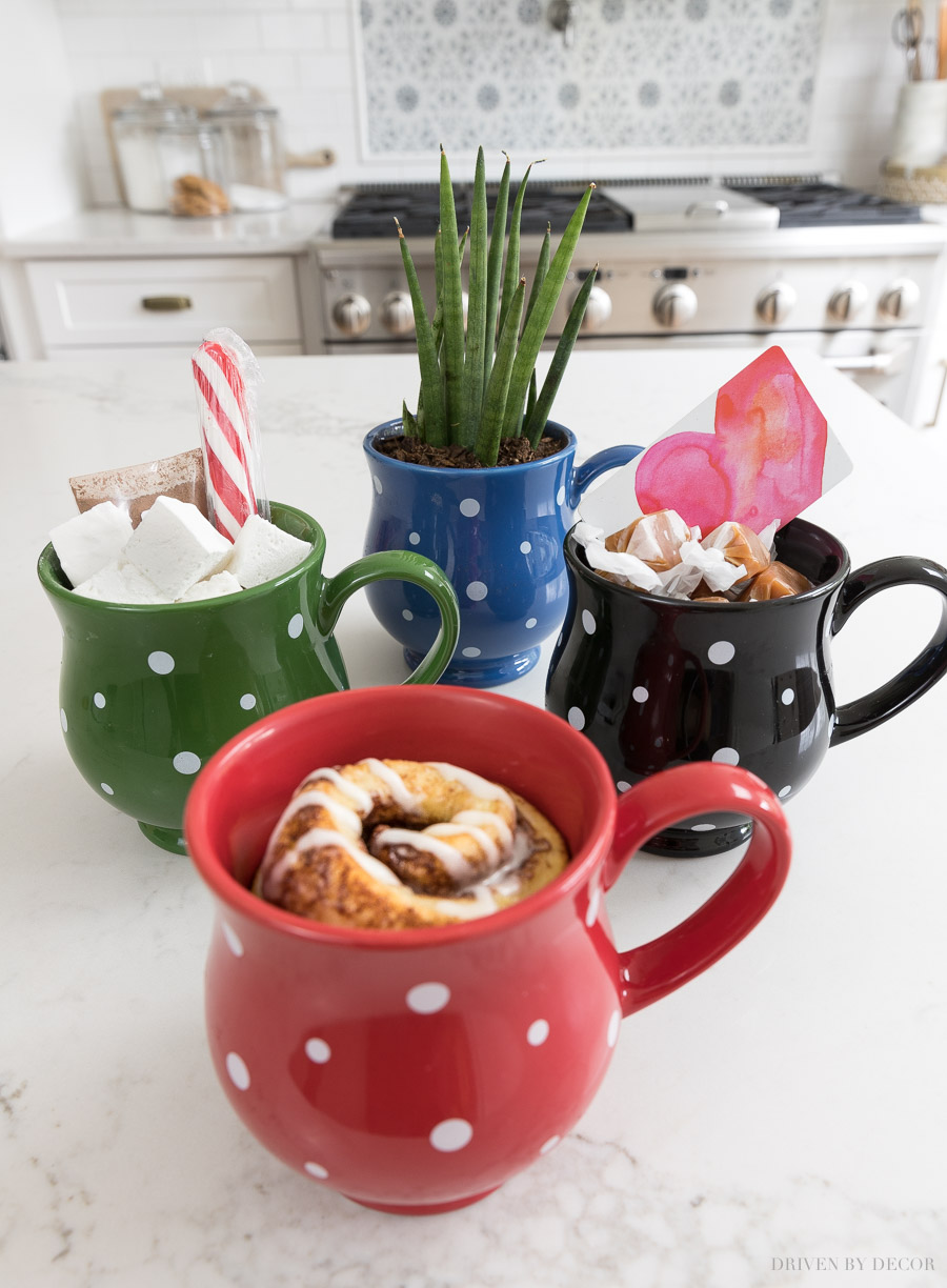 Great thank you gift ideas filling these cute mugs!