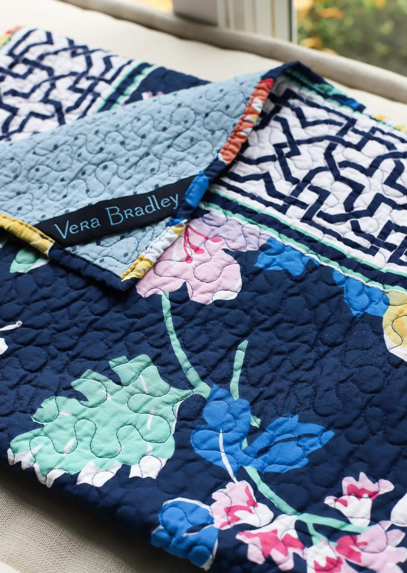 The cutest blue floral quilt! It's Vera Bradley's Maybe Navy bedding - love!
