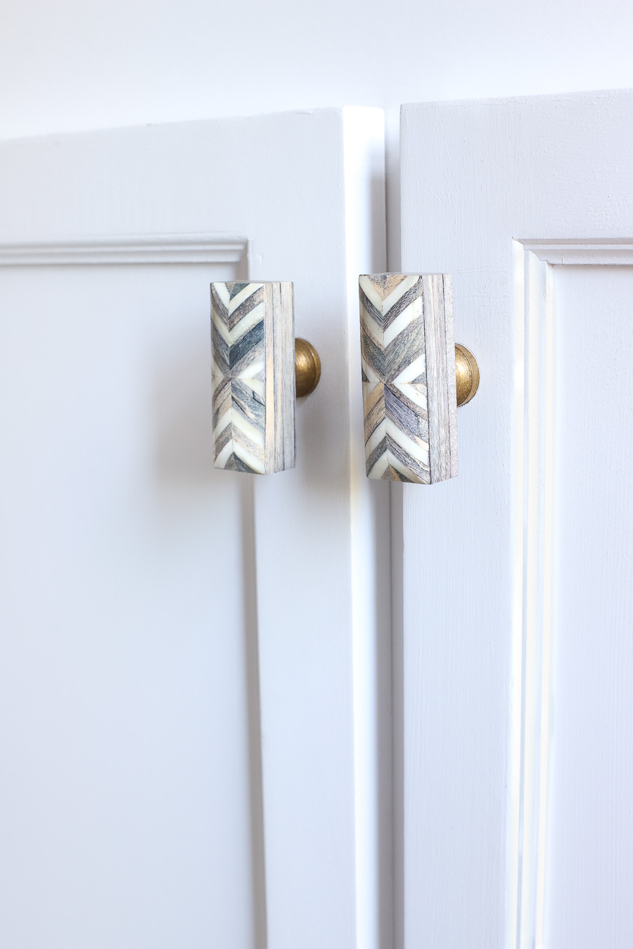 Gorgeous wood inlay cabinet knobs!